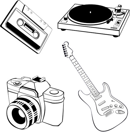 analogical: vector collection of different object (music and photography) Illustration