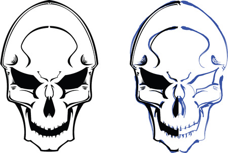 vector skulls couple with brush detail. see portfolio for different composition Stock Vector - 4956163