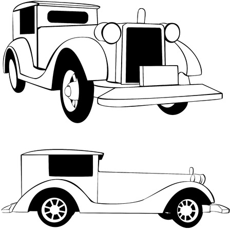 vector drawn of an old fashioned car Vector