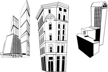 vector set of different skyscrapers. Vector