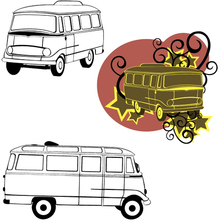 vector drawn of a car bus in different composition Vector