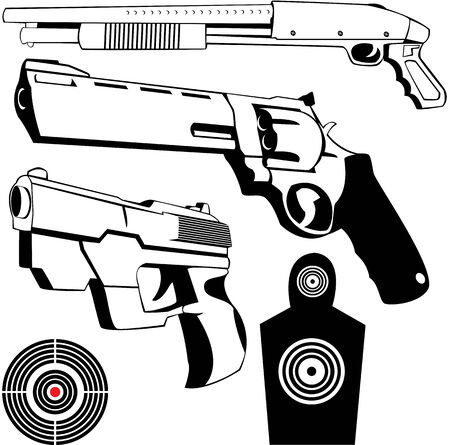 magnum: vector drawings of some fire weapons and targets