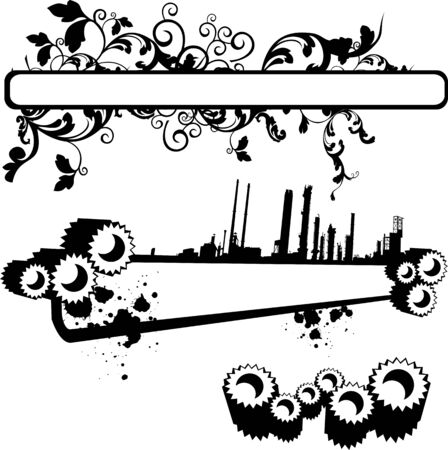 vector banner with gears and swirls Vector