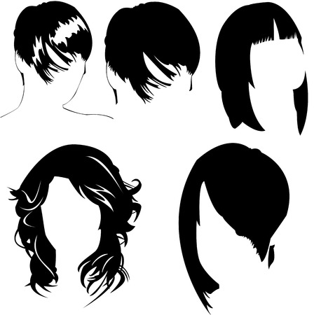 minimal style: vector collection of womens different haircuts