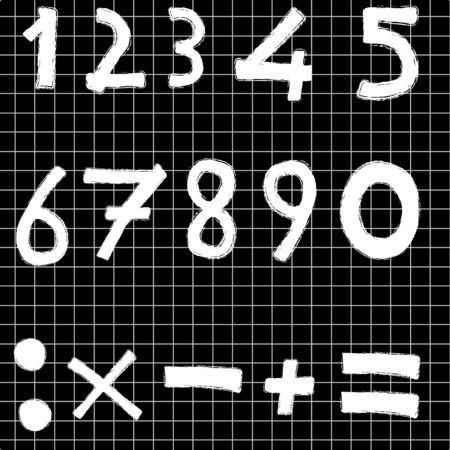 blackboard with numbers and operation symbols Vector