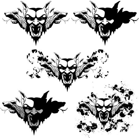 malevolent: vector set of a vampire golem with different textures and decorations