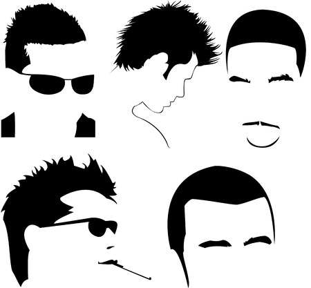 minimal style: vector collection of mens different haircuts