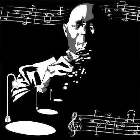 hall: vector draw of a jazz man with notes flying around