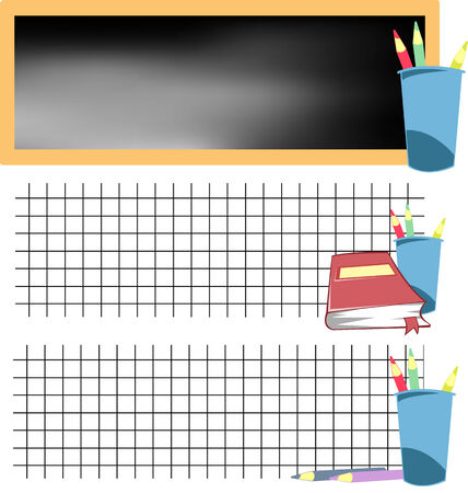 collection of school banners with colored pencils and blackboard Vector