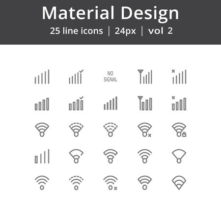 Material Design Signal Line Icons Illustration