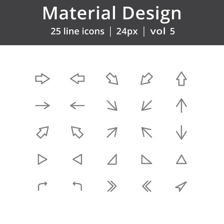 rotated: Material Design Arrows Line Icons Illustration