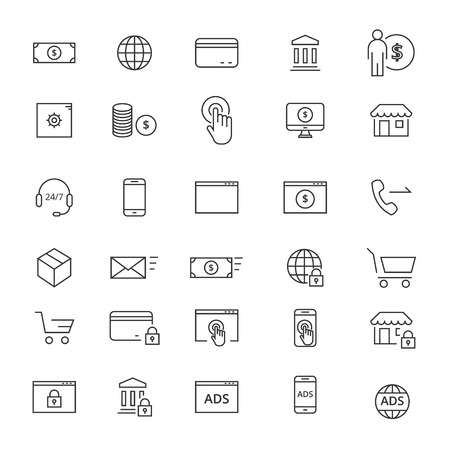 delivery service: Commerse line icons. Icons for user intefaces and web Illustration