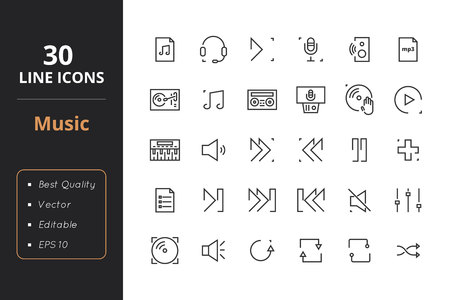 audio mixer: High quality music line icons. Icons for user interfaces and web