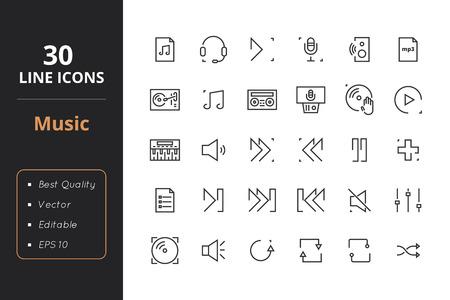 audio mixer: 30 Music Line Icons