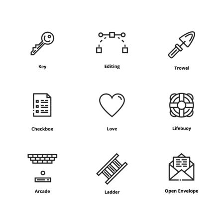 High quality line icons. Thin line icons for user interface and web Reklamní fotografie - 93195716