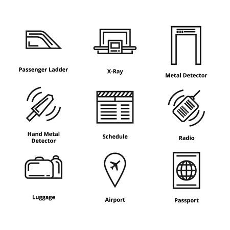 9 airport line icons like passport, airport and radio  イラスト・ベクター素材