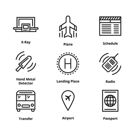 9 airport line icons. 向量圖像