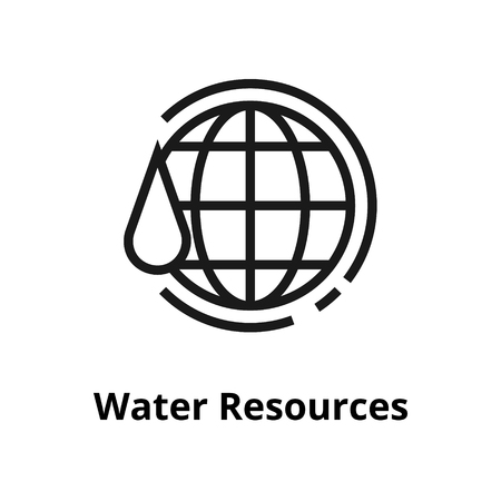 Water resources thin line icon. Icon for web and user interface 向量圖像