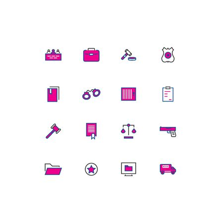 16 colored blue and pink law thin line icons