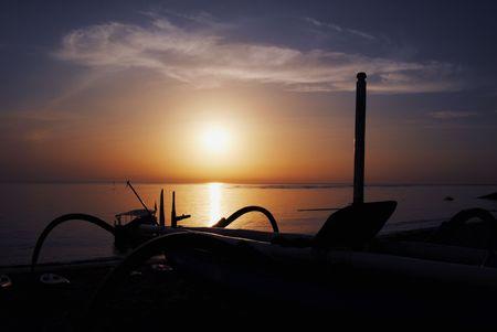 siluet: Traditional boat in siluet Stock Photo