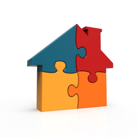 colorful house puzzle Stock Photo - 16986677