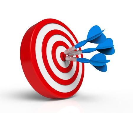focus on the goal: Blue Darts on Target