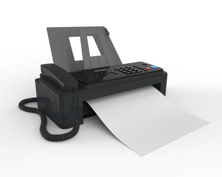 fax machine: Fax Machine with Paper Stock Photo
