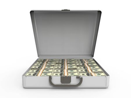 leather briefcase: Suitcase Full of Money