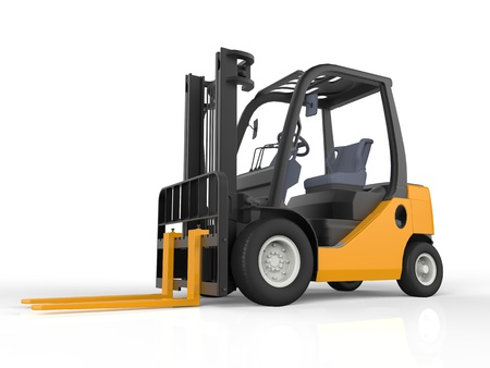 lift truck: Yellow Forklift Truck, Isolated on White Background