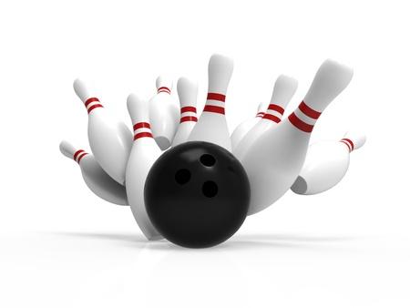 Bowling Ball Absturz in die Pins