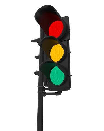 señal transito: Semáforos aislados en blanco Foto de archivo