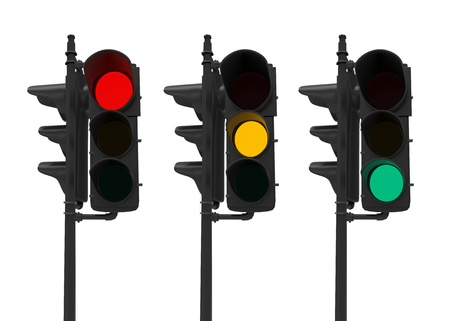 danger warning sign: Set of Traffic Lights Isolated on White Stock Photo