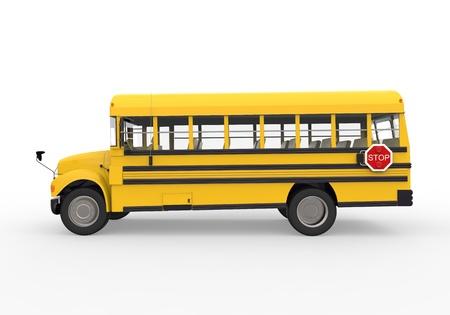 transport scolaire: School Bus isol� sur fond blanc Banque d'images
