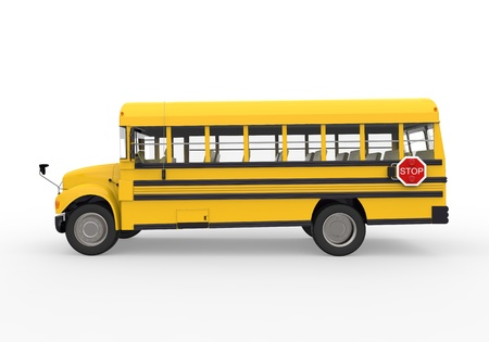 public schools: School Bus Isolated on White Background Stock Photo