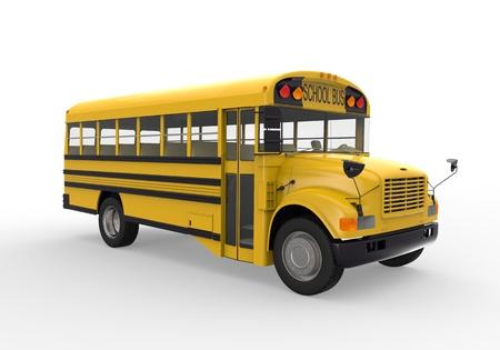 public school: School Bus Isolated on White Background Stock Photo