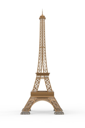 tower tall: Eiffel Tower Isolated on White Background