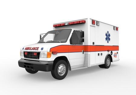 ambulancia: Ambulancia aislada en el fondo blanco