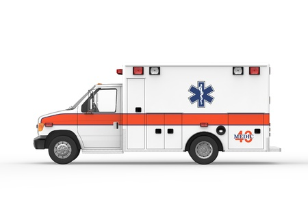 ems: Ambulance Isolated on White Background Stock Photo