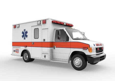 emergencia: Ambulancia aislada en el fondo blanco
