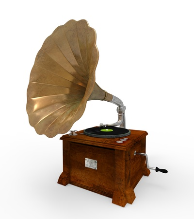 phonograph: Old Gramophone with Horn Speaker Stock Photo