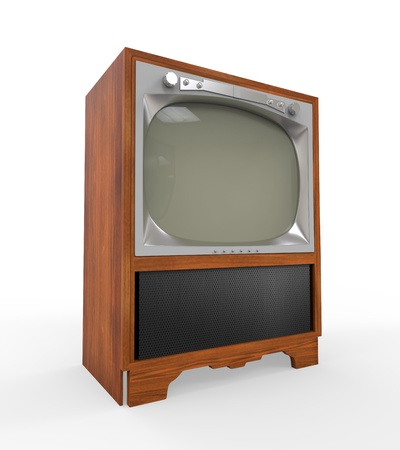 Old Vintage Television with Wooden Case photo