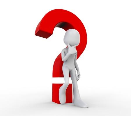 interrogativa: Humano 3D con un signo de interrogación
