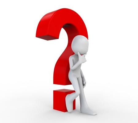 quality questions: 3D Human with a Question  Mark Stock Photo
