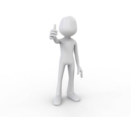 3D Human Showing with the Thumb Up photo