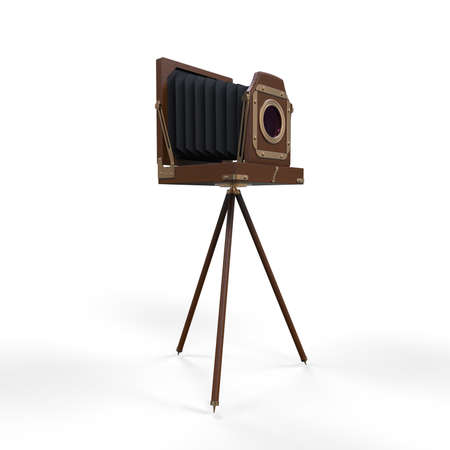 Wooden Classic Retro Camera on Tripod Stock Photo - 18260819