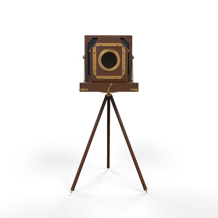 tripods: Wooden Classic Retro Camera on Tripod Stock Photo