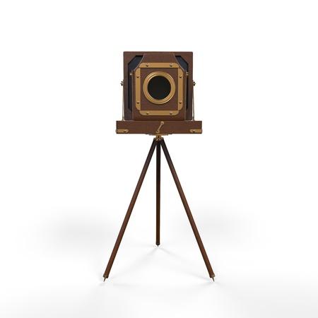 retro camera: Wooden Classic Retro Camera on Tripod Stock Photo
