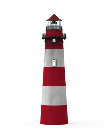 lighthouse at night: Red Lighthouse Isolated on White Background Stock Photo