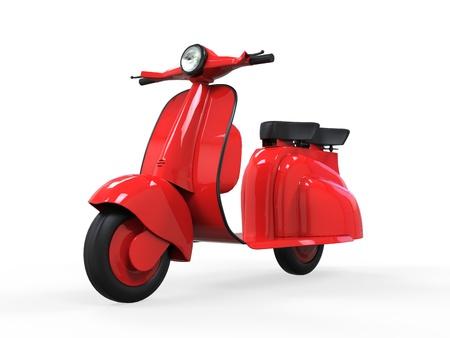 old school bike: Red Old Vintage Scooter