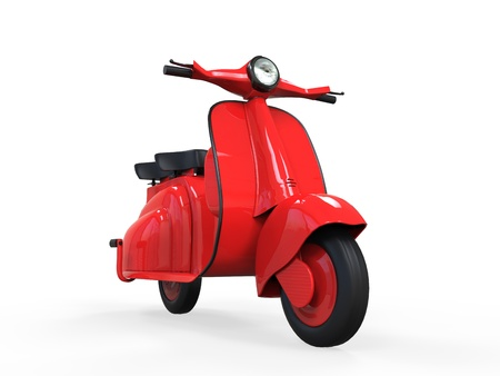 Red Old Vintage Scooter  photo